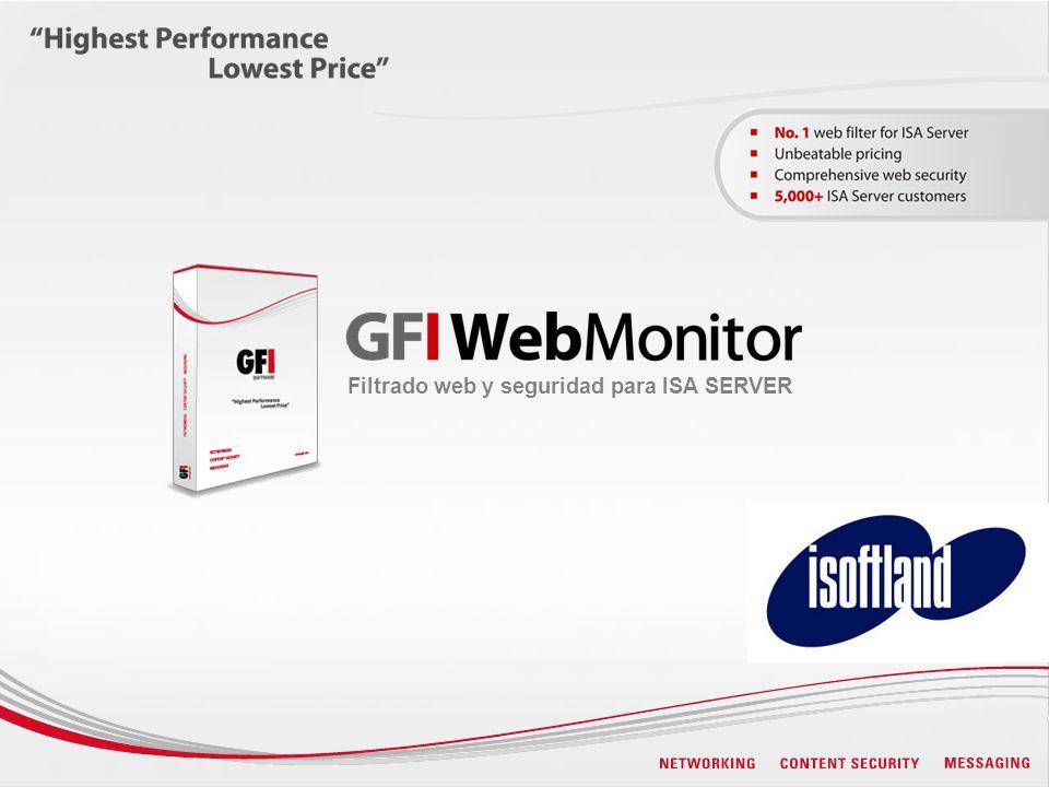 Utiliza la base de datos WebGrade para clasificar/filtrar las solicitudes de sitios web Monitorea conexiones y proporciona estadísticas Product snapshot
