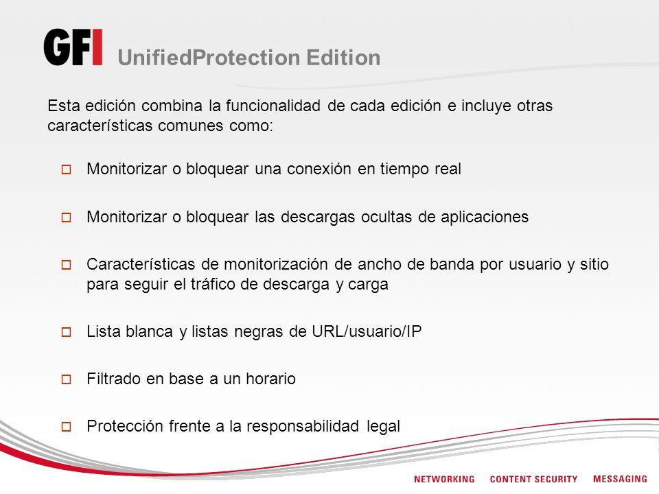 UnifiedProtection Edition Esta edición combina la funcionalidad de cada edición e incluye otras características comunes como: Monitorizar o bloquear u