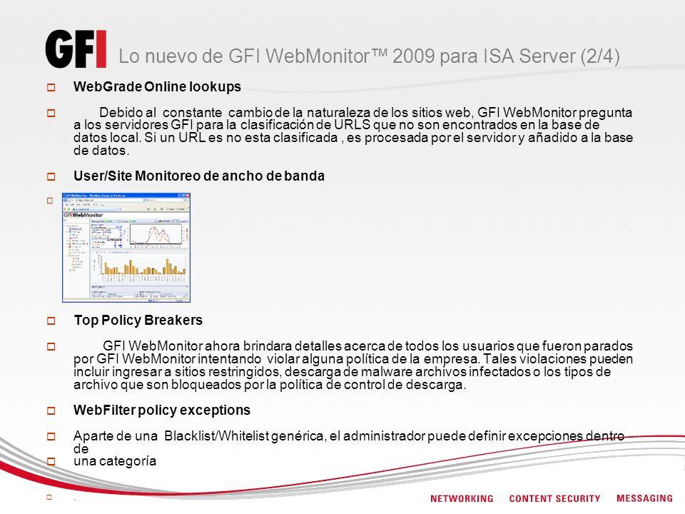 Lo nuevo de GFI WebMonitor 2009 para ISA Server (2/4) WebGrade Online lookups Debido al constante cambio de la naturaleza de los sitios web, GFI WebMo