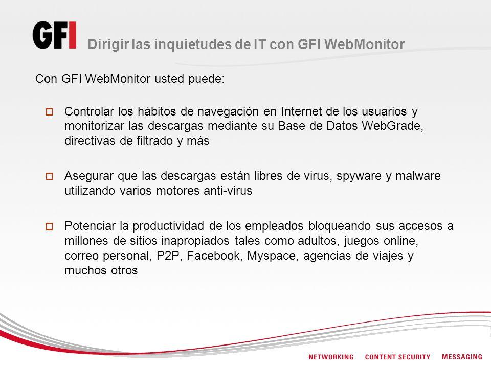Dirigir las inquietudes de IT con GFI WebMonitor Con GFI WebMonitor usted puede: Controlar los hábitos de navegación en Internet de los usuarios y mon