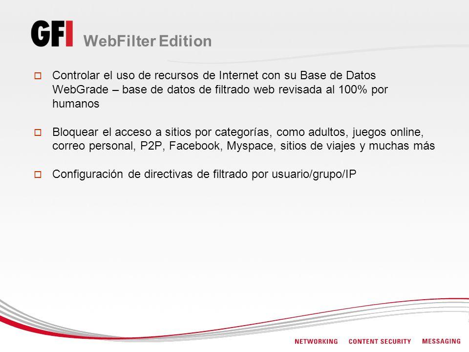 WebFilter Edition Controlar el uso de recursos de Internet con su Base de Datos WebGrade – base de datos de filtrado web revisada al 100% por humanos