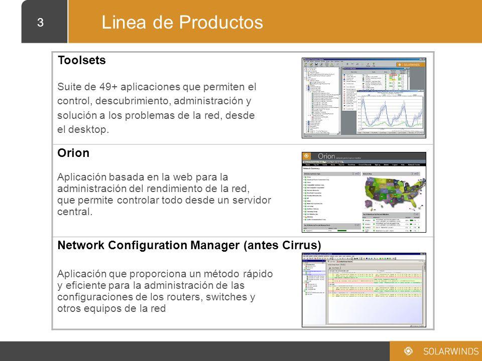 4 Toolsets Descripcion del producto Colección de 49+ herramientas basadas en Windows que permiten el descubrimiento, monitoreo, resolución de problemas y pruebas.