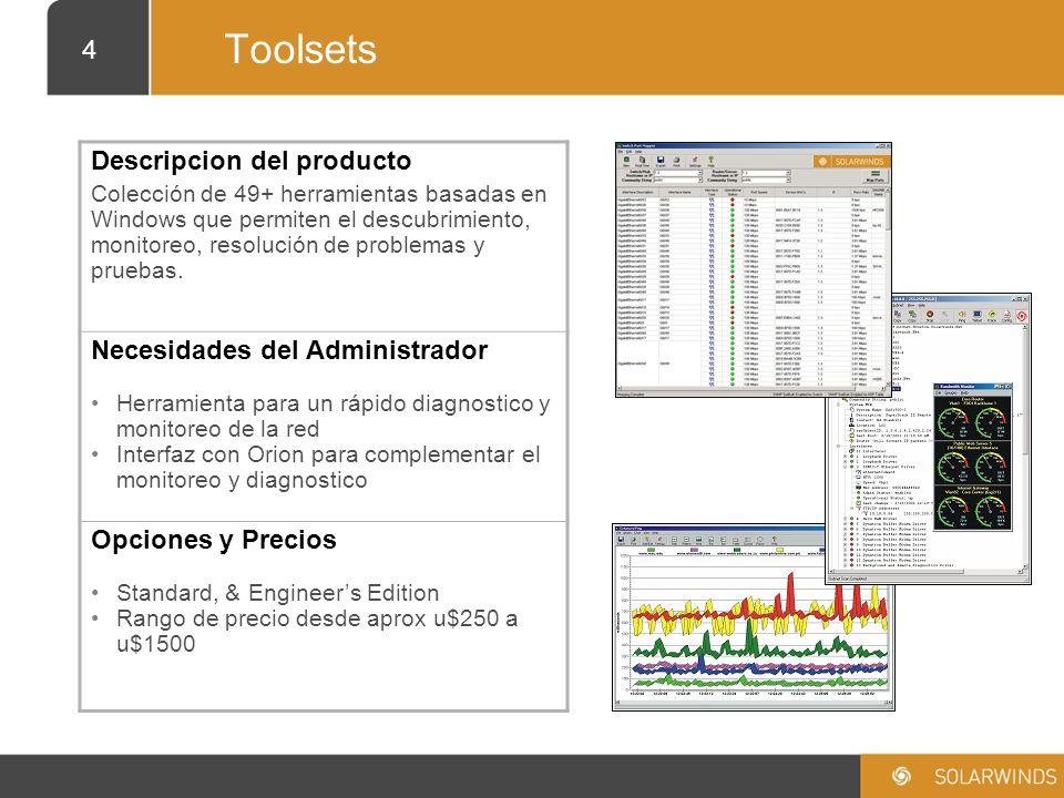 5 Orion Descripción del producto Herramienta basada en la web, para el monitoreo y la gestión de fallas de la red.