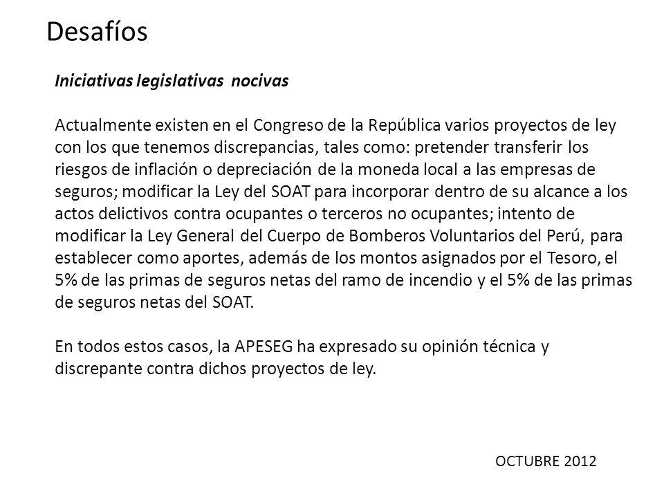 OCTUBRE 2012 Desafíos Iniciativas legislativas nocivas Actualmente existen en el Congreso de la República varios proyectos de ley con los que tenemos