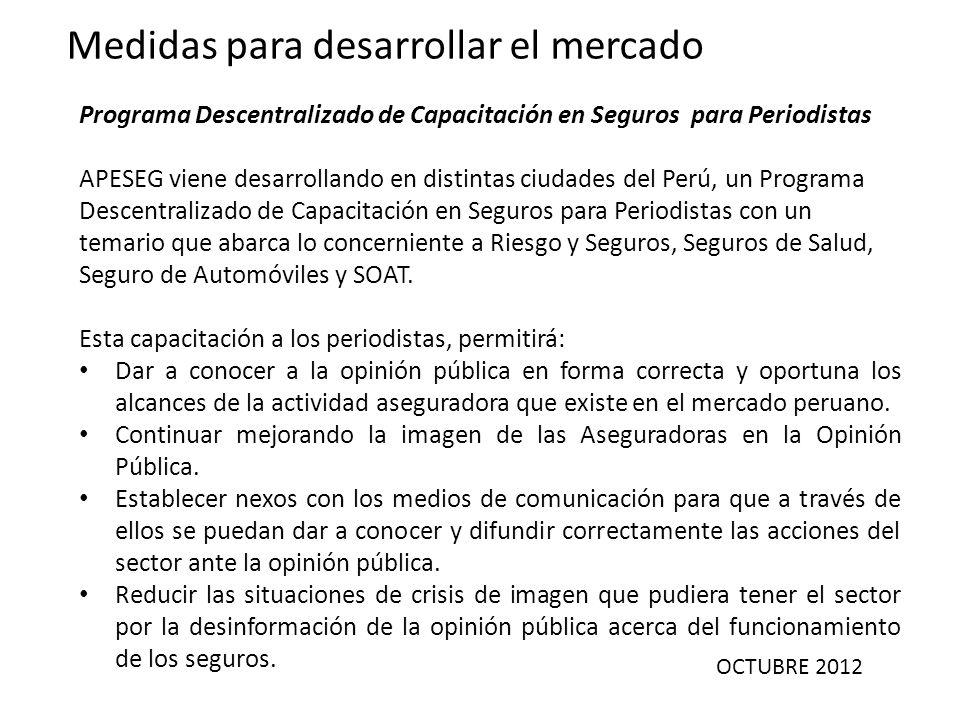 OCTUBRE 2012 Medidas para desarrollar el mercado Programa Descentralizado de Capacitación en Seguros para Periodistas APESEG viene desarrollando en di