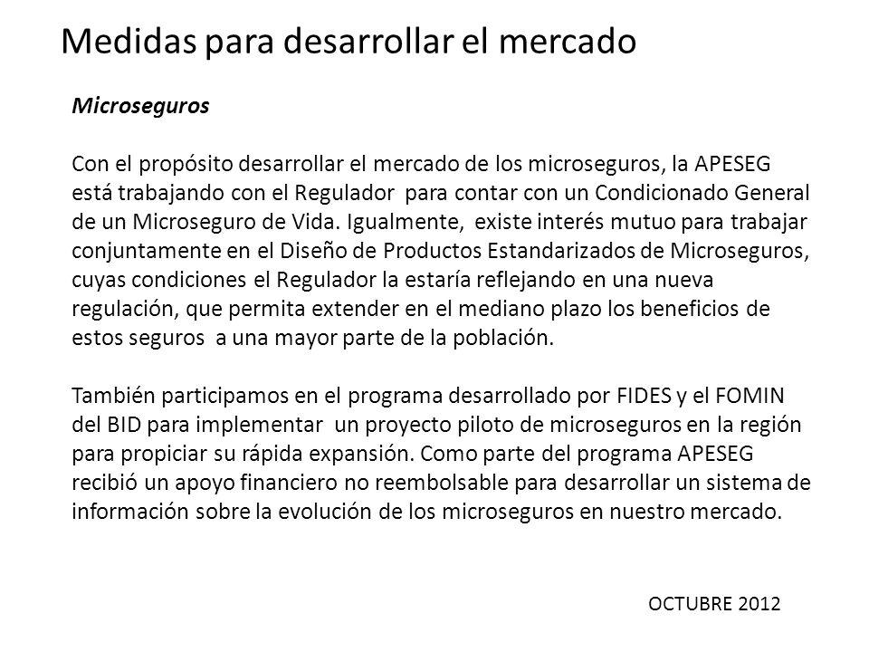OCTUBRE 2012 Medidas para desarrollar el mercado Microseguros Con el propósito desarrollar el mercado de los microseguros, la APESEG está trabajando c