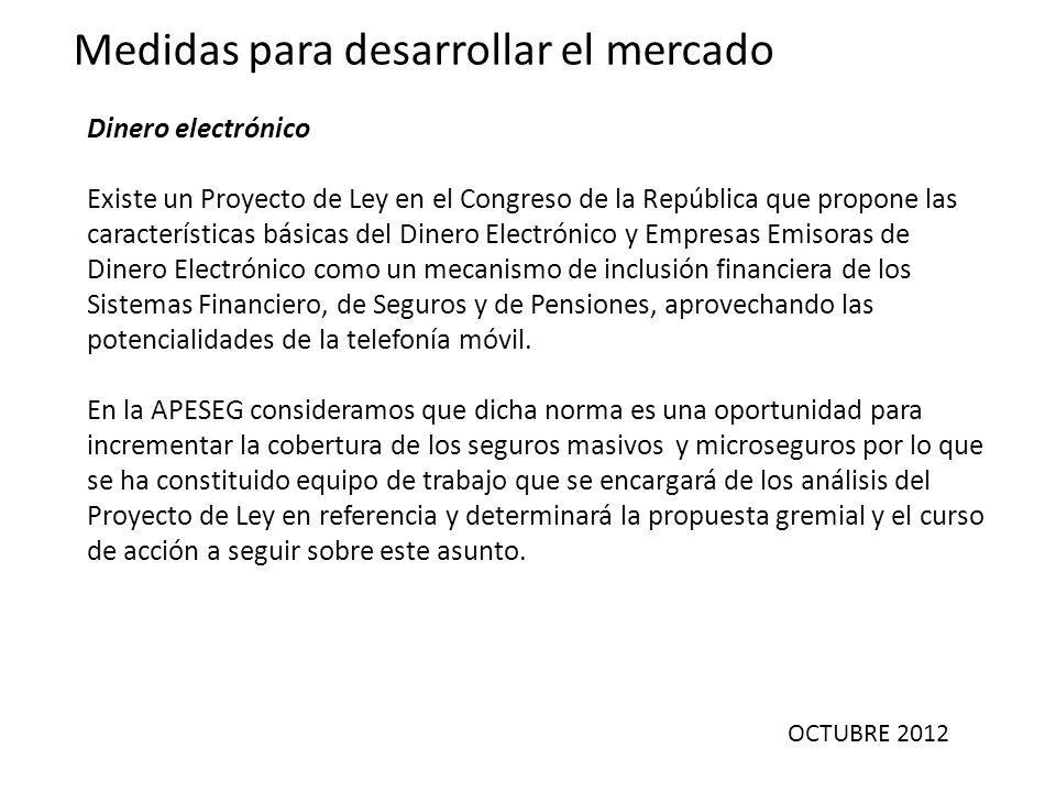 OCTUBRE 2012 Medidas para desarrollar el mercado Dinero electrónico Existe un Proyecto de Ley en el Congreso de la República que propone las caracterí