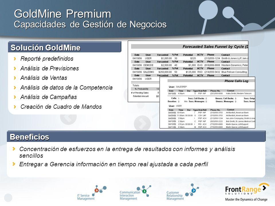 Solución GoldMine Reporté predefinidos Análisis de Previsiones Análisis de Ventas Análisis de datos de la Competencia Análisis de Campañas Creación de