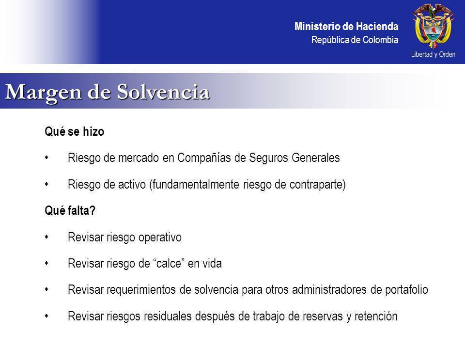 Ministerio de Hacienda República de Colombia Qué se hizo Riesgo de mercado en Compañías de Seguros Generales Riesgo de activo (fundamentalmente riesgo de contraparte) Qué falta.