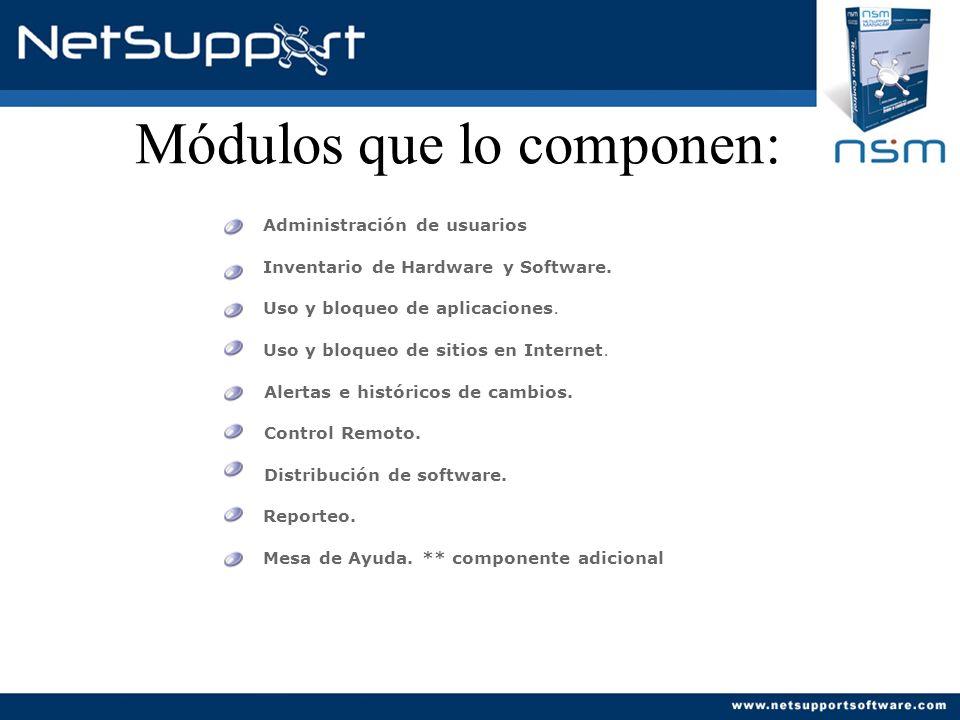 Key features : Uso y bloqueo de Aplicaciones Similar al módulo anterior, pero a nivel software o aplicación instalada.
