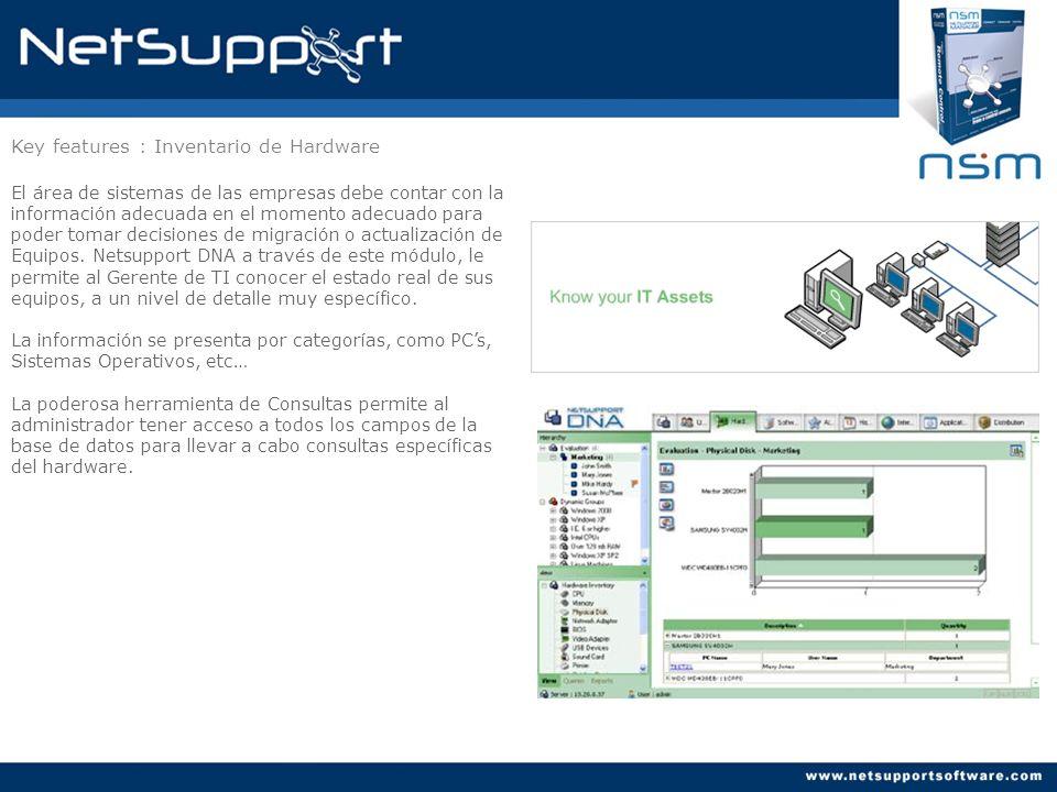 Key features : Reportes Netsupport DNA ofrece 2 Estilos de reportes: 1) Reportes en pantalla, que ofrecen gráficos de barra y Pie con funcionalidades de drill-down (interactivos) 2) Reportes impresos, diseñados bajo la plataforma de Crystal Reports.