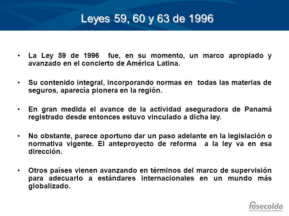 Leyes 59, 60 y 63 de 1996 La Ley 59 de 1996 fue, en su momento, un marco apropiado y avanzado en el concierto de América Latina. Su contenido integral