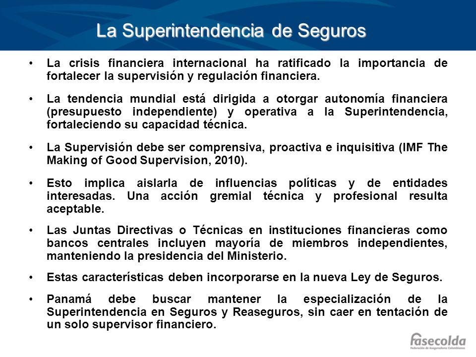 La Superintendencia de Seguros La crisis financiera internacional ha ratificado la importancia de fortalecer la supervisión y regulación financiera. L