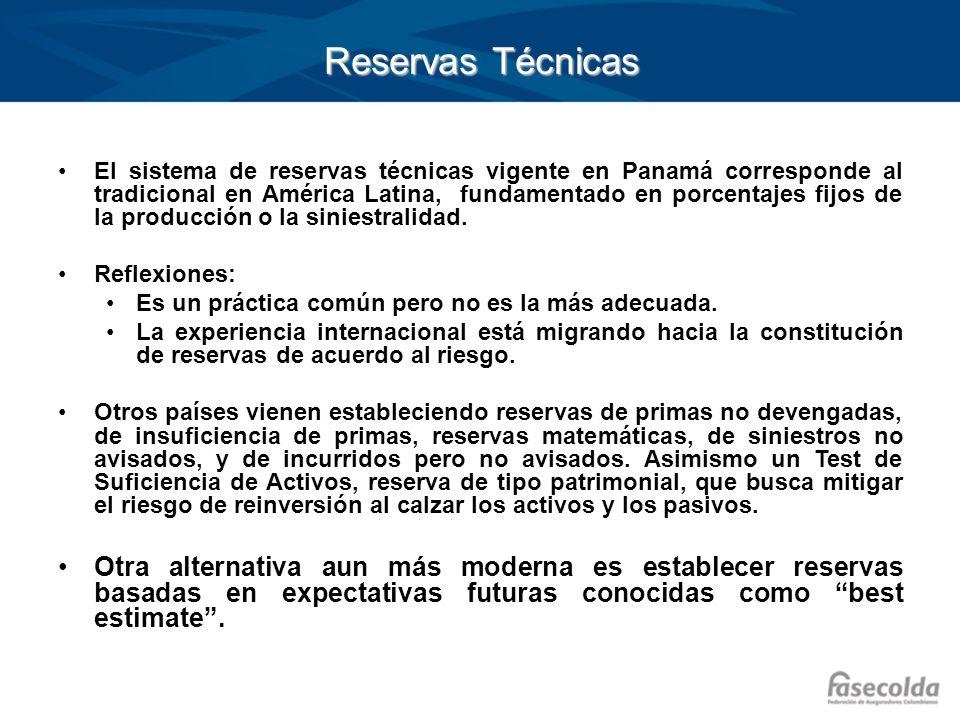Reservas Técnicas El sistema de reservas técnicas vigente en Panamá corresponde al tradicional en América Latina, fundamentado en porcentajes fijos de