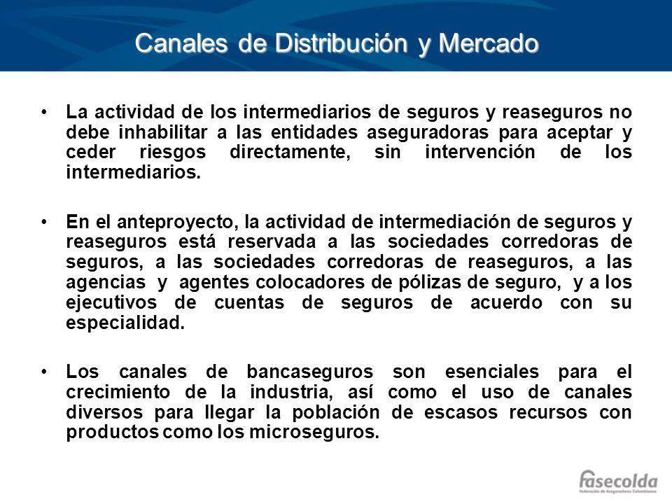 Canales de Distribución y Mercado La actividad de los intermediarios de seguros y reaseguros no debe inhabilitar a las entidades aseguradoras para ace