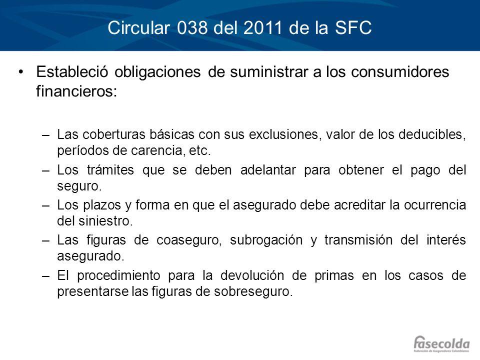 Circular 038 del 2011 de la SFC Estableció obligaciones de suministrar a los consumidores financieros: –Las coberturas básicas con sus exclusiones, va