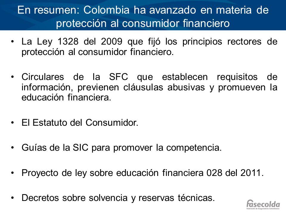 En resumen: Colombia ha avanzado en materia de protección al consumidor financiero La Ley 1328 del 2009 que fijó los principios rectores de protección