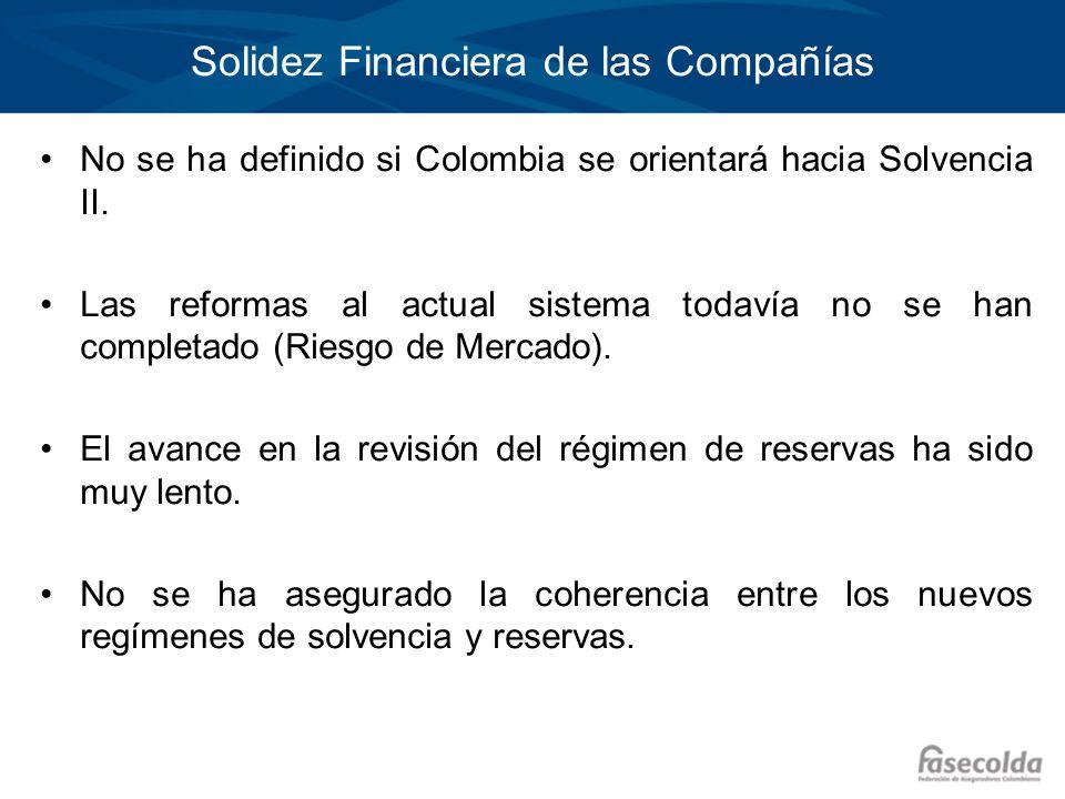 Solidez Financiera de las Compañías No se ha definido si Colombia se orientará hacia Solvencia II. Las reformas al actual sistema todavía no se han co