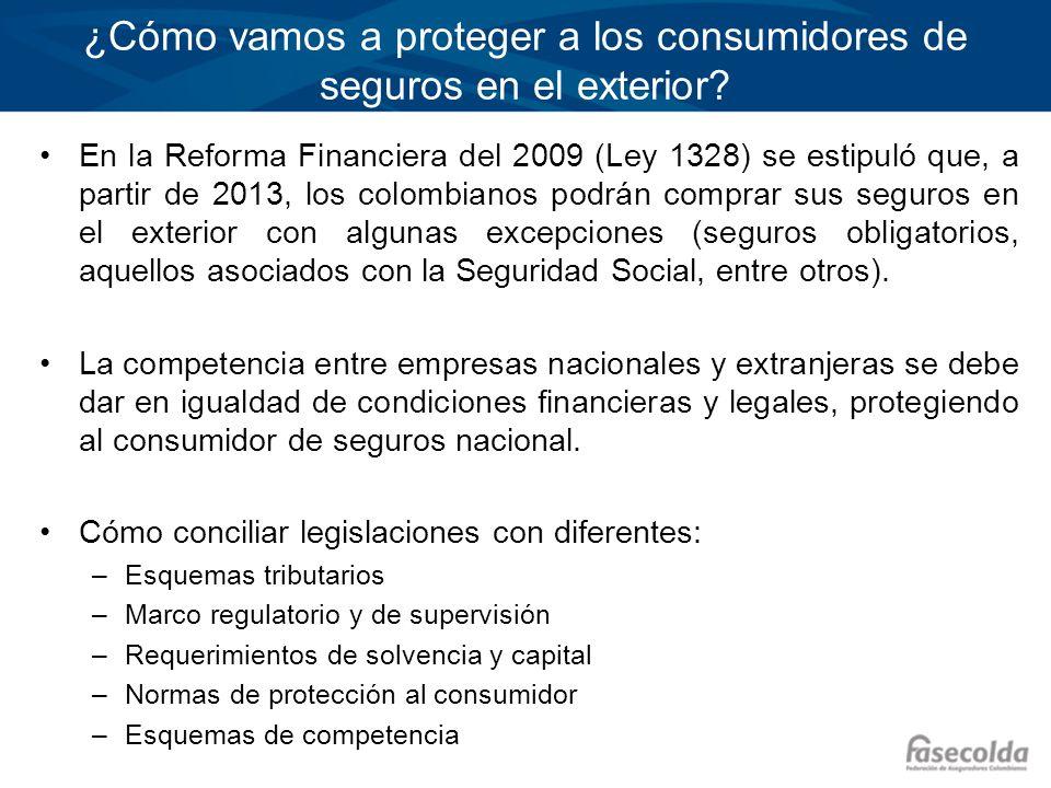 ¿Cómo vamos a proteger a los consumidores de seguros en el exterior? En la Reforma Financiera del 2009 (Ley 1328) se estipuló que, a partir de 2013, l