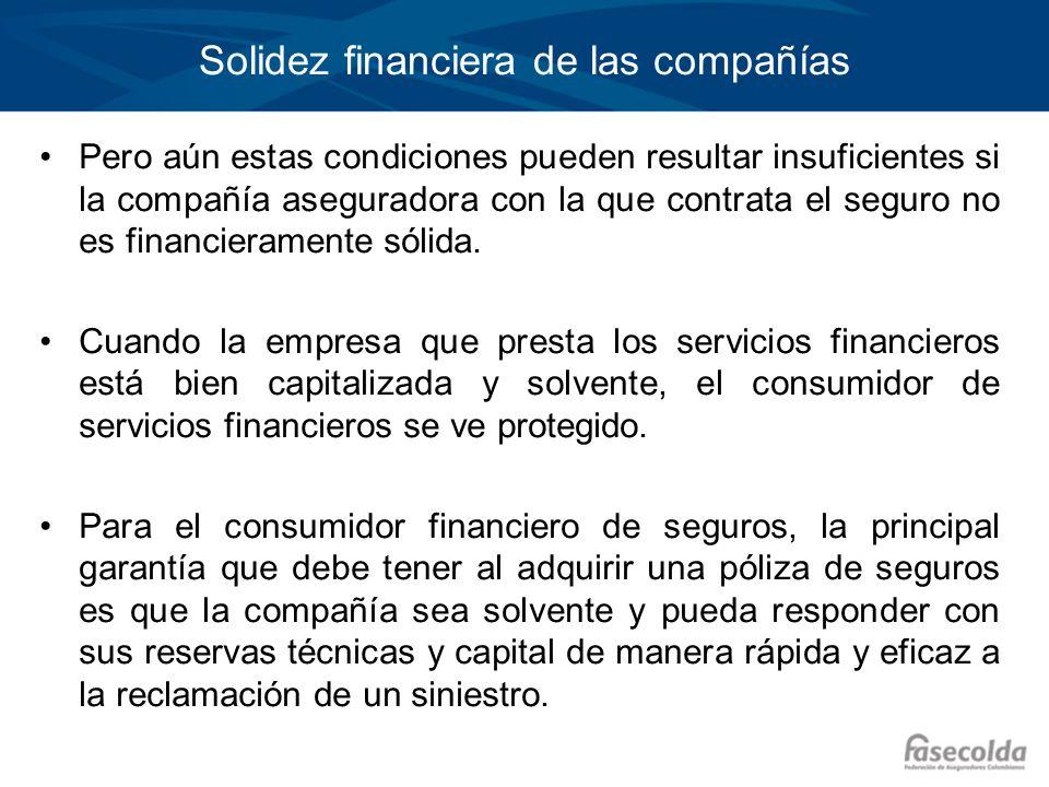Solidez financiera de las compañías Pero aún estas condiciones pueden resultar insuficientes si la compañía aseguradora con la que contrata el seguro