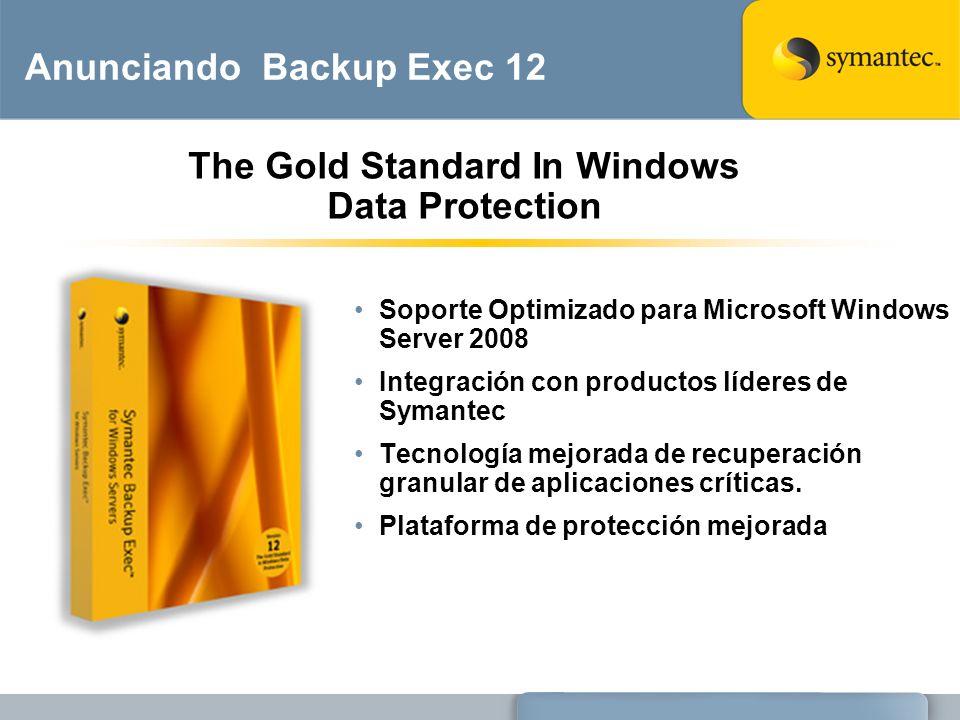 Anunciando Backup Exec 12 Soporte Optimizado para Microsoft Windows Server 2008 Integración con productos líderes de Symantec Tecnología mejorada de r