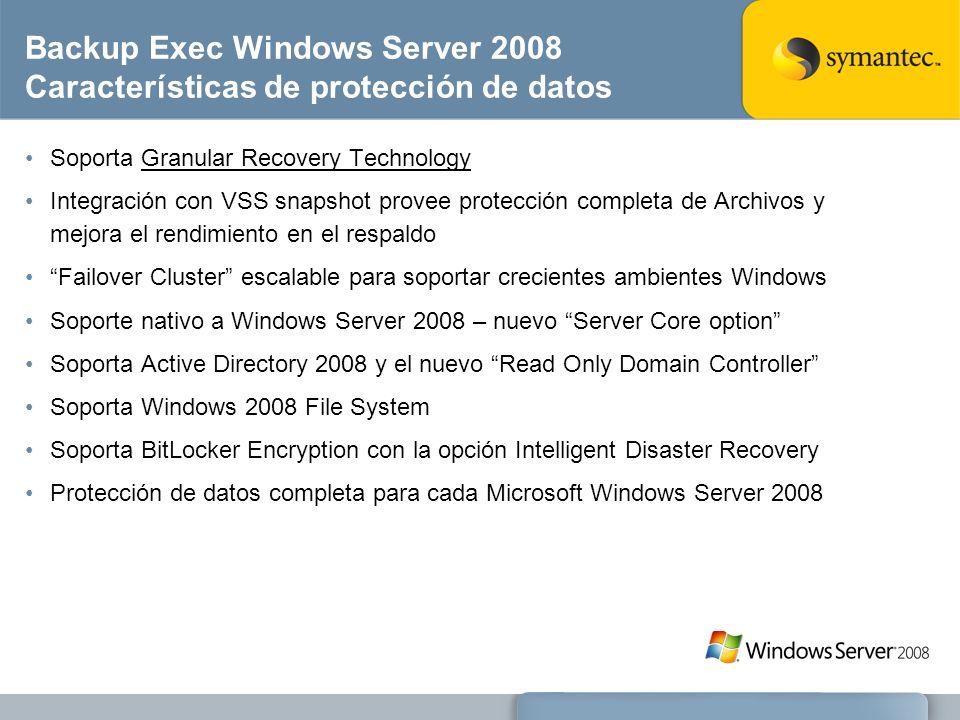 Backup Exec Windows Server 2008 Características de protección de datos Soporta Granular Recovery Technology Integración con VSS snapshot provee protec