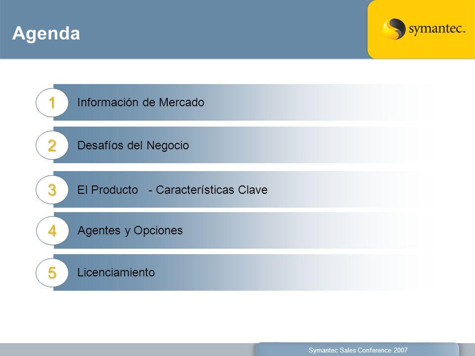 Agenda Información de Mercado1 Symantec Sales Conference 2007 Desafíos del Negocio2 El Producto - Características Clave3 Agentes y Opciones4 Licenciam