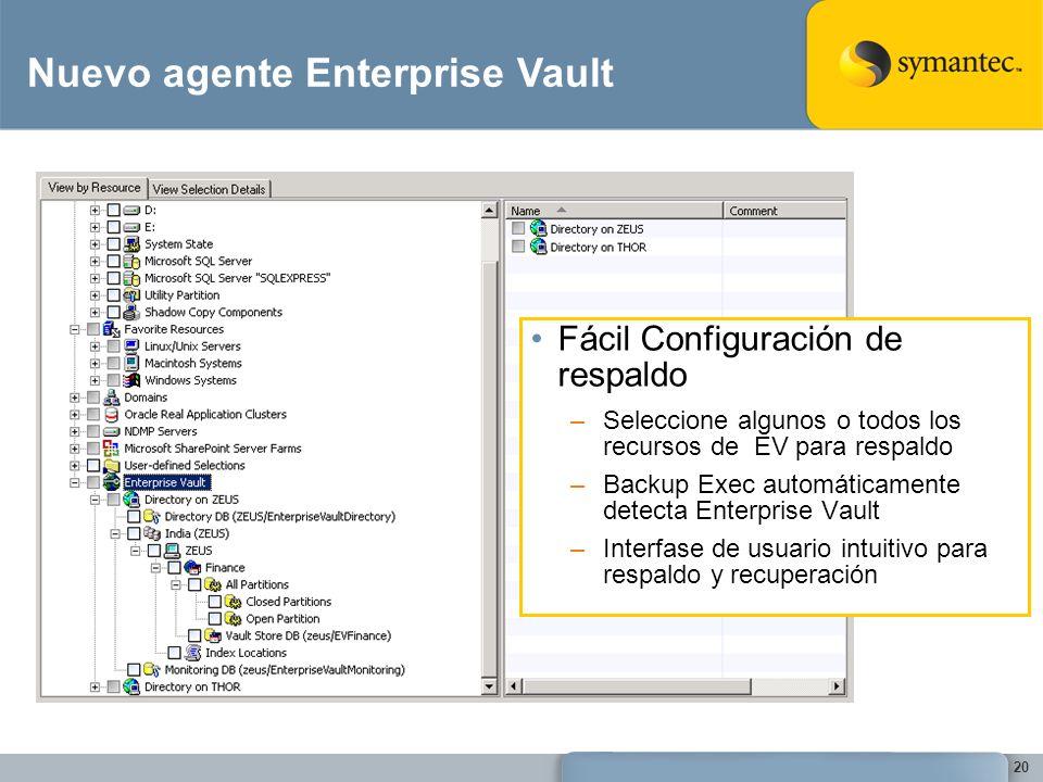 20 Fácil Configuración de respaldo –Seleccione algunos o todos los recursos de EV para respaldo –Backup Exec automáticamente detecta Enterprise Vault