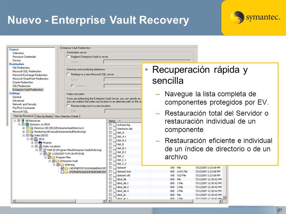 21 Nuevo - Enterprise Vault Recovery Recuperación rápida y sencilla –Navegue la lista completa de componentes protegidos por EV. –Restauración total d