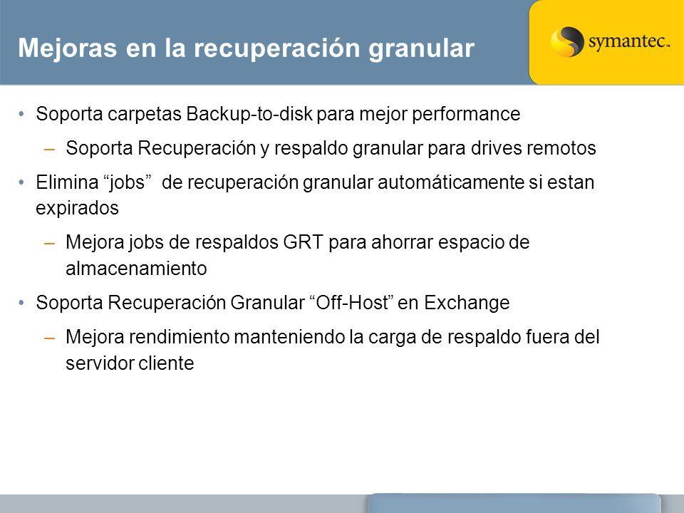 Mejoras en la recuperación granular Soporta carpetas Backup-to-disk para mejor performance –Soporta Recuperación y respaldo granular para drives remot