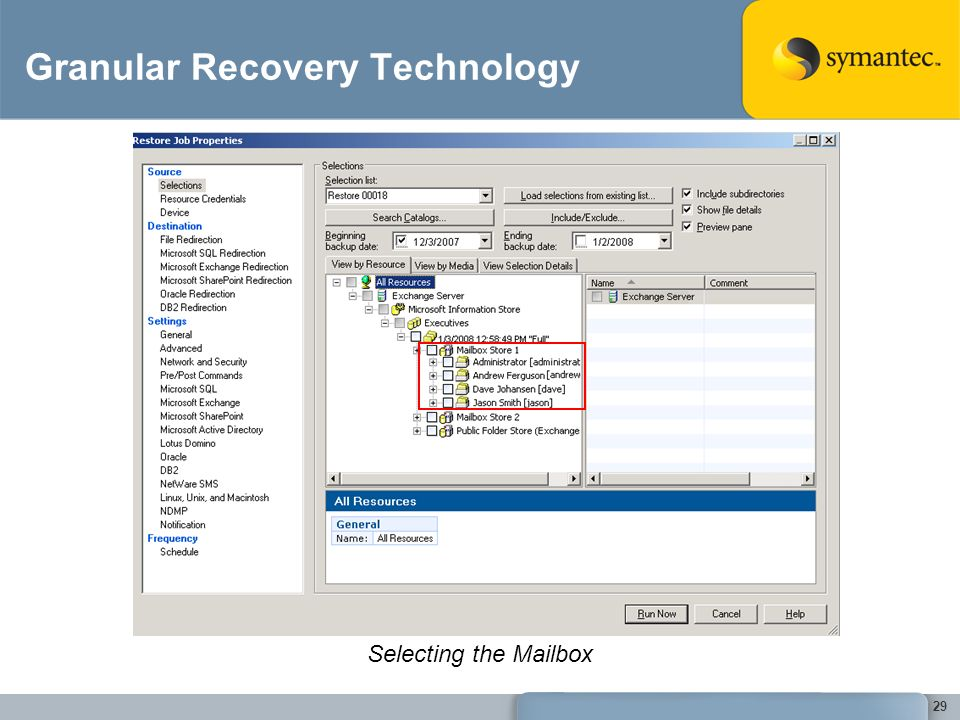 Granular Recovery Technology Selecting the Mailbox 29