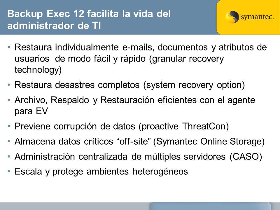 Backup Exec 12 facilita la vida del administrador de TI Restaura individualmente e-mails, documentos y atributos de usuarios de modo fácil y rápido (g