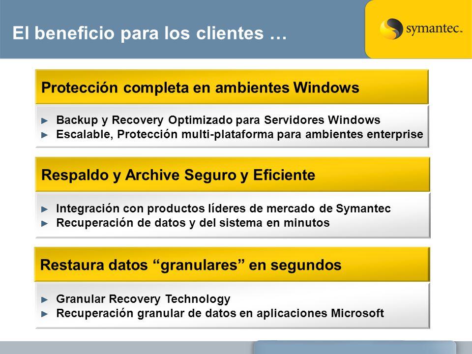 El beneficio para los clientes … Protección completa en ambientes Windows Respaldo y Archive Seguro y Eficiente Backup y Recovery Optimizado para Serv