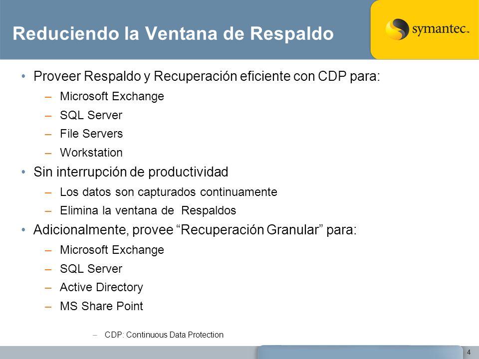 Reduciendo la Ventana de Respaldo Proveer Respaldo y Recuperación eficiente con CDP para: –Microsoft Exchange –SQL Server –File Servers –Workstation S