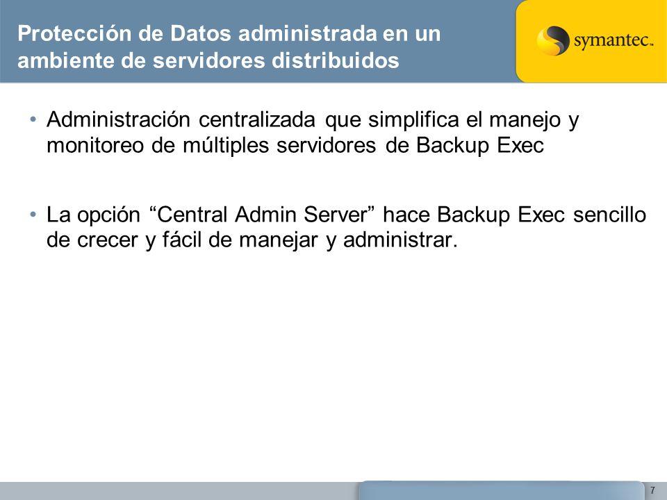 Protección de Datos administrada en un ambiente de servidores distribuidos Administración centralizada que simplifica el manejo y monitoreo de múltipl