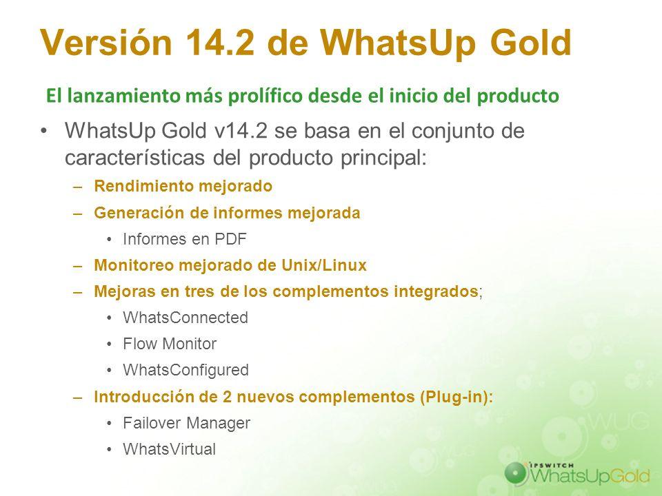 Versión 14.2 de WhatsUp Gold WhatsUp Gold v14.2 se basa en el conjunto de características del producto principal: –Rendimiento mejorado –Generación de
