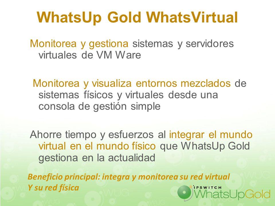 WhatsUp Gold WhatsVirtual Monitorea y gestiona sistemas y servidores virtuales de VM Ware Monitorea y visualiza entornos mezclados de sistemas físicos
