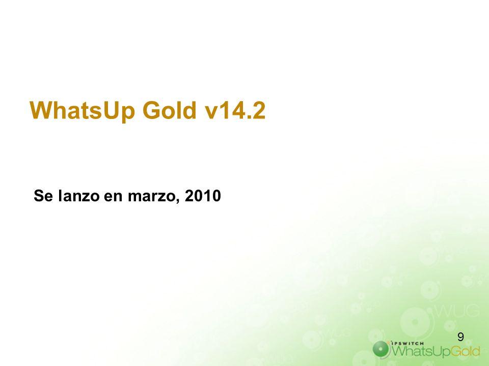 Versión 14.2 de WhatsUp Gold WhatsUp Gold v14.2 se basa en el conjunto de características del producto principal: –Rendimiento mejorado –Generación de informes mejorada Informes en PDF –Monitoreo mejorado de Unix/Linux –Mejoras en tres de los complementos integrados; WhatsConnected Flow Monitor WhatsConfigured –Introducción de 2 nuevos complementos (Plug-in): Failover Manager WhatsVirtual El lanzamiento más prolífico desde el inicio del producto