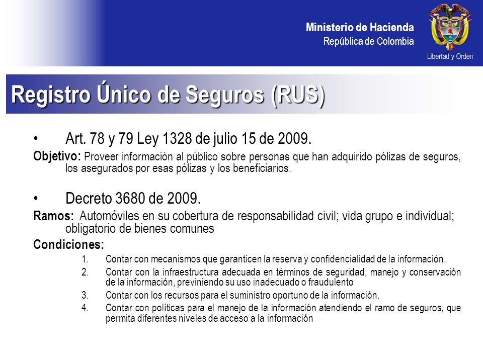 Ministerio de Hacienda República de Colombia Art. 78 y 79 Ley 1328 de julio 15 de 2009.