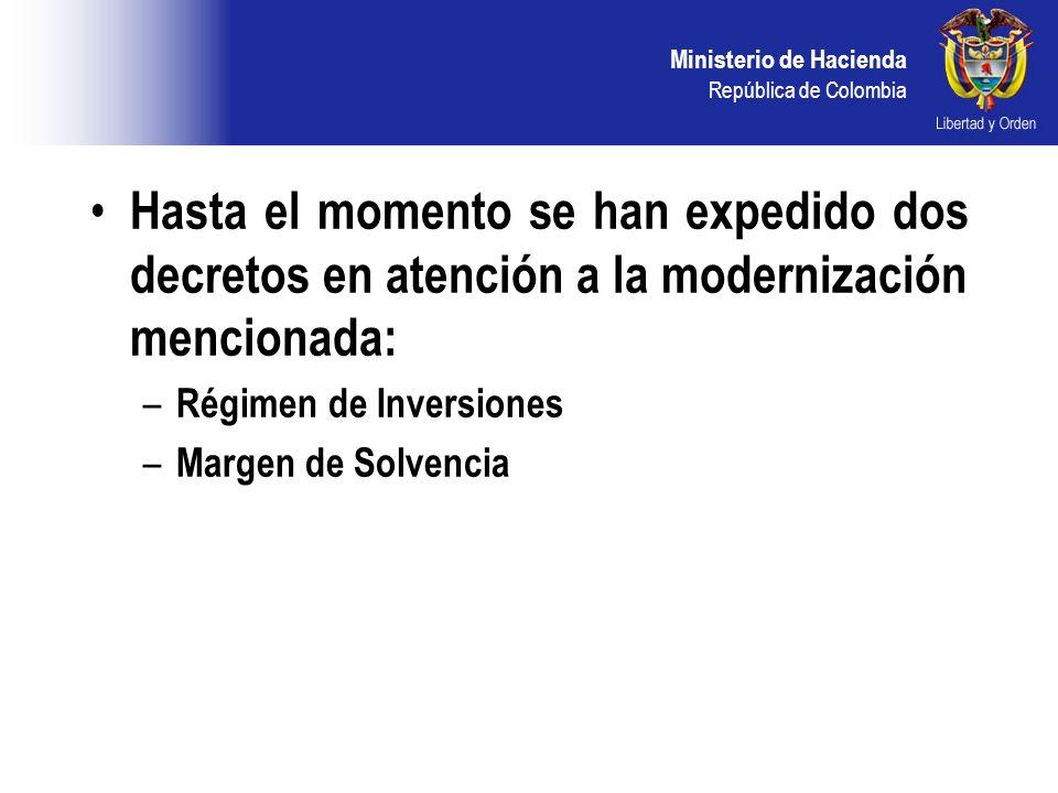 Ministerio de Hacienda República de Colombia Hasta el momento se han expedido dos decretos en atención a la modernización mencionada: – Régimen de Inversiones – Margen de Solvencia