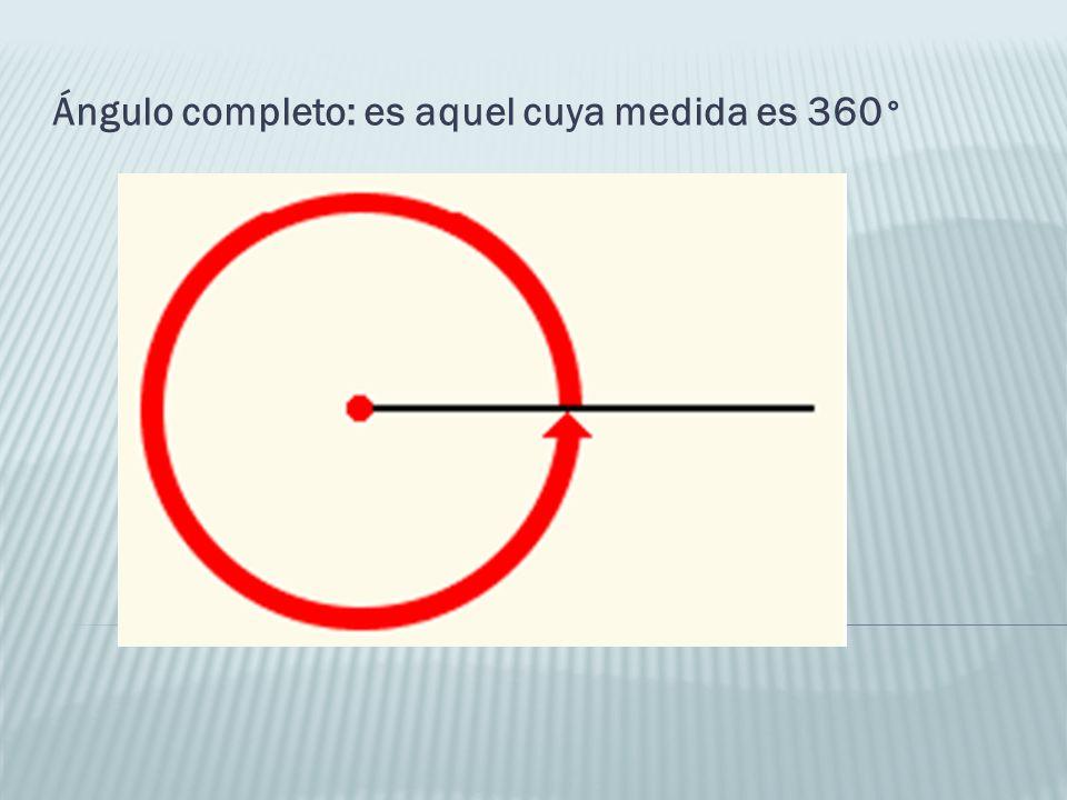 Ángulo completo: es aquel cuya medida es 360 °