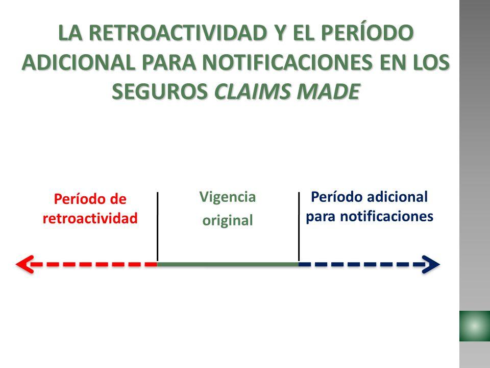 LA RETROACTIVIDAD Y EL PERÍODO ADICIONAL PARA NOTIFICACIONES EN LOS SEGUROS CLAIMS MADE Período de retroactividad Vigencia original Período adicional