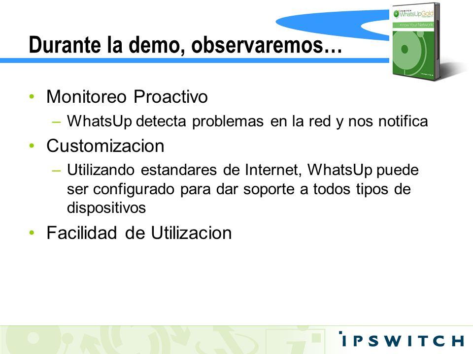 Durante la demo, observaremos… Monitoreo Proactivo –WhatsUp detecta problemas en la red y nos notifica Customizacion –Utilizando estandares de Interne