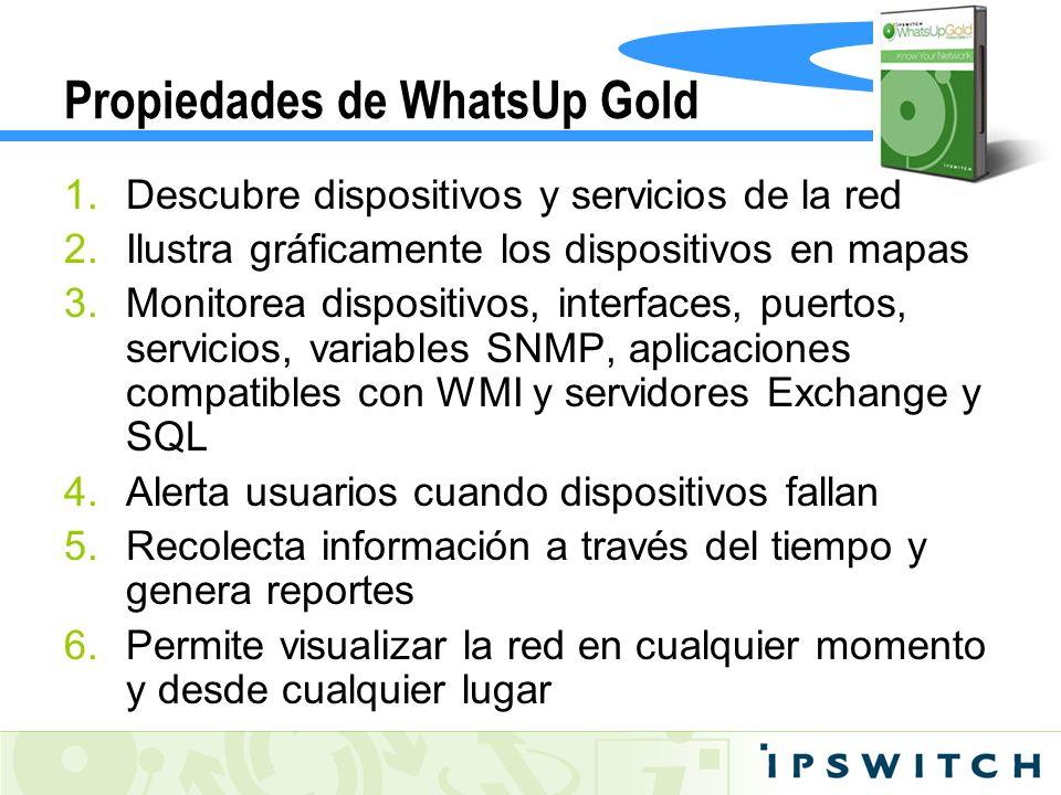 Propiedades de WhatsUp Gold 1.Descubre dispositivos y servicios de la red 2.Ilustra gráficamente los dispositivos en mapas 3.Monitorea dispositivos, i