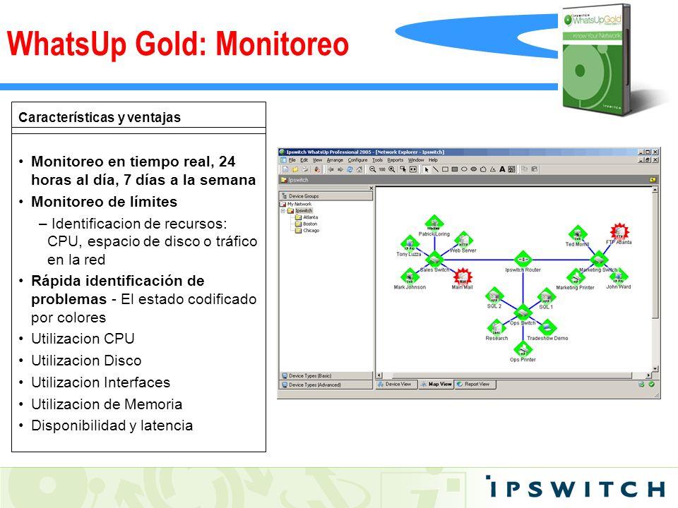 Características y ventajas Monitoreo en tiempo real, 24 horas al día, 7 días a la semana Monitoreo de límites – Identificacion de recursos: CPU, espac