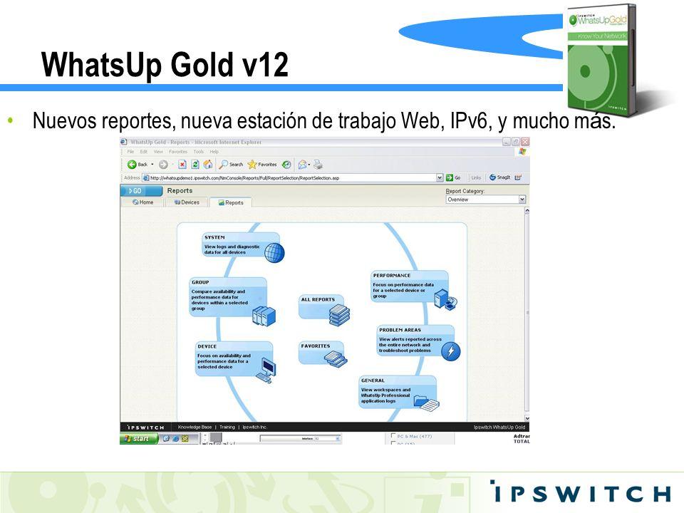 WhatsUp Gold v12 Nuevos reportes, nueva estación de trabajo Web, IPv6, y mucho m á s.
