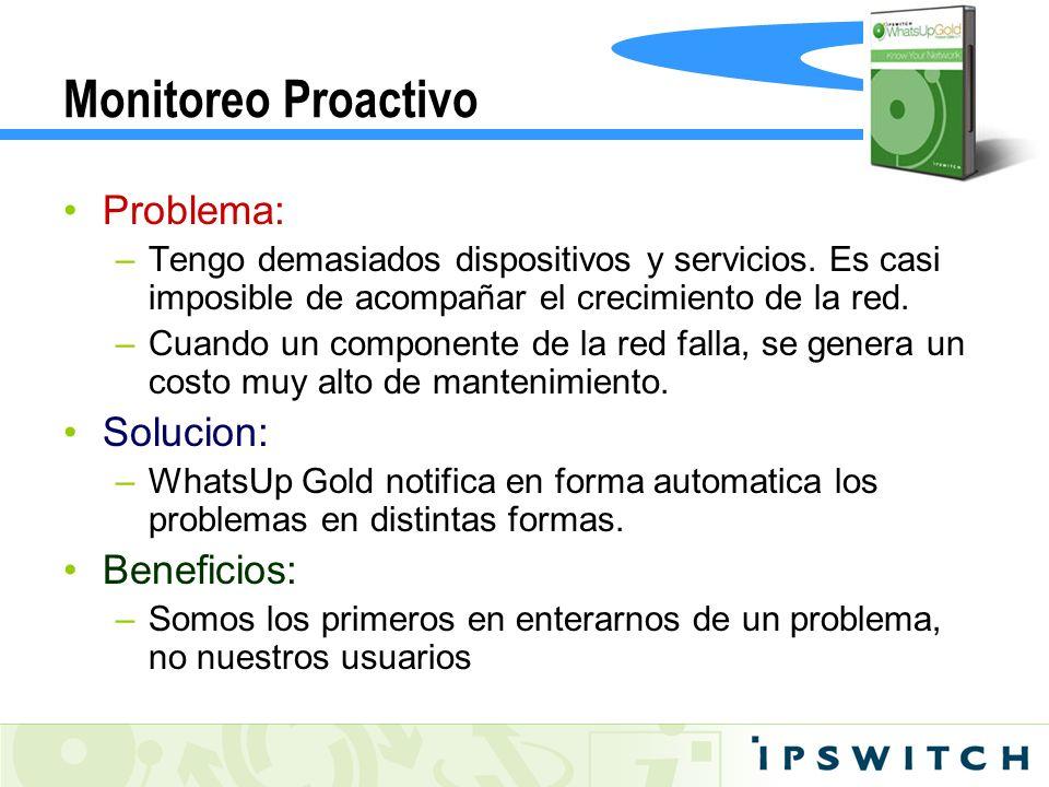 Monitoreo Proactivo Problema: –Tengo demasiados dispositivos y servicios. Es casi imposible de acompañar el crecimiento de la red. –Cuando un componen