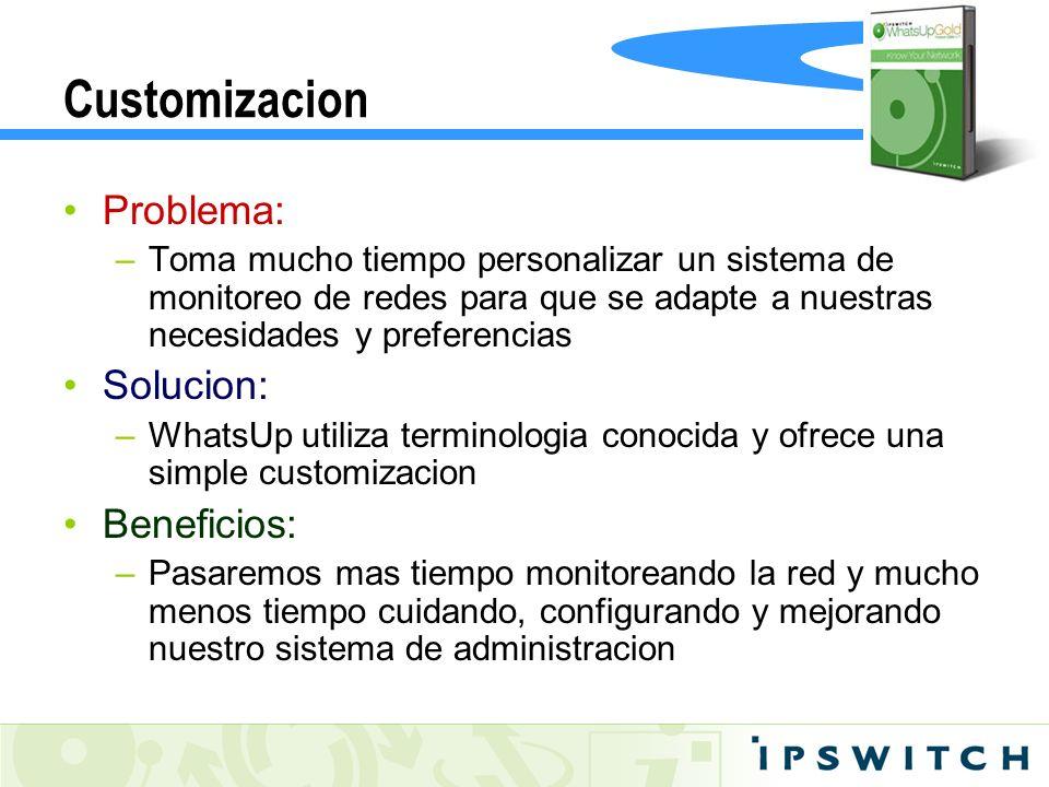 Customizacion Problema: –Toma mucho tiempo personalizar un sistema de monitoreo de redes para que se adapte a nuestras necesidades y preferencias Solu