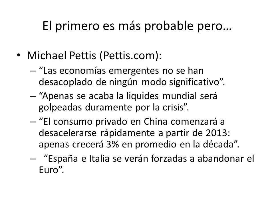 El primero es más probable pero… Michael Pettis (Pettis.com): –Las economías emergentes no se han desacoplado de ningún modo significativo. –Apenas se