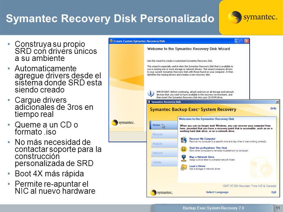 Backup Exec System Recovery 7.011 Symantec Recovery Disk Personalizado Construya su propio SRD con drivers únicos a su ambiente Automaticamente agregu